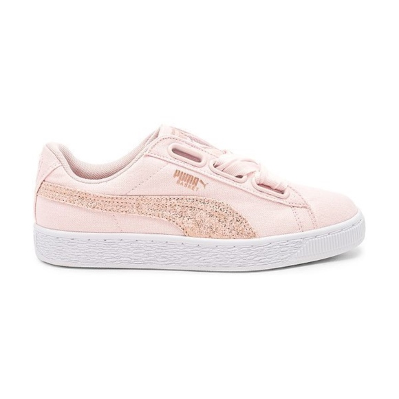 buy popular a101b 51aa7 Puma Pink Basket Heart Canvas Sneaker